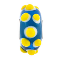 New Year Deals - SAPPHIRE BLUE WITH YELLOW SALIENT HEDGEHOG FIT ALL BRANDS MURANO GLASS BEADS CHARMS BRACELETS alternate image 2.