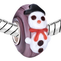 Charms Beads - CUTE CHRISTMAS SNOWMAN AMTHYST PURPLE STRIPE MURANO GLASS FIT ALL BRANDS BEADS CHARMS BRACELETS alternate image 1.