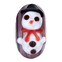 Charms Beads - CUTE CHRISTMAS SNOWMAN AMTHYST PURPLE STRIPE MURANO GLASS FIT ALL BRANDS BEADS CHARMS BRACELETS alternate image 2.