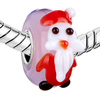 Charms Beads - CHRISTMAS SANTA CLAUS PASTEL PINK MURANO GLASS FIT ALL BRANDS BEADS CHARMS BRACELETS alternate image 1.