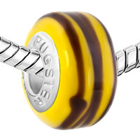 New Arrivals - BROWN STRIPE YELLOW FIT ALL BRANDS MURANO GLASS BEADS CHARMS BRACELETS alternate image 1.