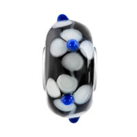 Charms Beads - WHITE FLOWER WITH SAPPHIRE BLUE PISTIL MIDNIGHT BLACK FIT ALL BRANDS MURANO GLASS BEADS CHARMS BRACELETS alternate image 2.