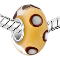 Charms Beads - WHITE AND BLACK DOTS YELLOW COLOR FIT ALL BRANDS MURANO GLASS BEADS CHARMS BRACELETS alternate image 1.