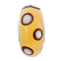 Charms Beads - WHITE AND BLACK DOTS YELLOW COLOR FIT ALL BRANDS MURANO GLASS BEADS CHARMS BRACELETS alternate image 2.
