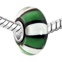 New Arrivals - BLACK WHITE STRIPE EMERALD GREEN MURANO GLASS BEADS CHARMS BRACELETS FIT ALL BRANDS alternate image 1.