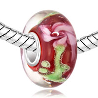 Murano Glass Jewelry - RED WITH BEAUTIFUL PINK FLOWER FIT AND CHARMILIA MURANO GLASS BEADS CHARMS BRACELETS ALL BRANDS alternate image 1.