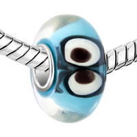 Charms Beads - OCEAN BLUE AQUAMARINE COLOR ANIMAL EYES FIT ALL BRANDS MURANO GLASS BEADS CHARMS BRACELETS alternate image 1.