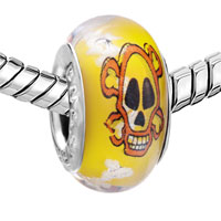 Charms Beads - YELLOW ORANGE SKULL WHITE DOTS LUMINOUS MURANO GLASS BEADS CHARMS BRACELETS FIT ALL BRANDS alternate image 1.
