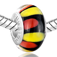 New Year Deals - ORANGE YELLOW AND RED PETALS BLACK FIT ALL BRANDS MURANO GLASS BEADS CHARMS BRACELETS alternate image 1.
