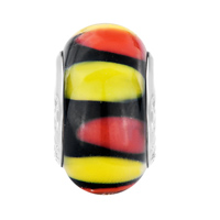 New Year Deals - ORANGE YELLOW AND RED PETALS BLACK FIT ALL BRANDS MURANO GLASS BEADS CHARMS BRACELETS alternate image 2.
