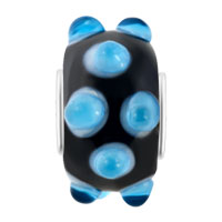 New Arrivals - OCEAN BLUE AQUAMARINE BUD BLACK ONYX COLOR FIT ALL BRANDS MURANO GLASS BEADS CHARMS BRACELETS alternate image 2.