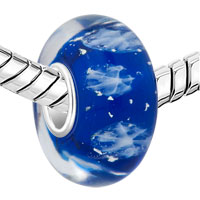 Sterling Silver Jewelry - SAPPHIRE BLUE CHRISTMAS GIFTS SNOWFLAKE 925  STERLING SILVER FITS MURANO GLASS BEADS CHARMS BRACELETS FIT ALL BRANDS alternate image 1.