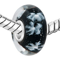 Sterling Silver Jewelry - 925  STERLING SILVER LET IT SNOW SNOWFLAKE BLACK FIT ALL BRANDS MURANO GLASS BEADS CHARMS BRACELETS alternate image 1.