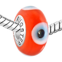 Sterling Silver Jewelry - GARNET RED EVIL EYES 925  STERLING SILVER FITS MURANO GLASS BEADS CHARMS BRACELETS FIT ALL BRANDS alternate image 1.
