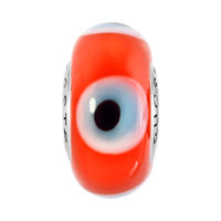 Sterling Silver Jewelry - GARNET RED EVIL EYES 925  STERLING SILVER FITS MURANO GLASS BEADS CHARMS BRACELETS FIT ALL BRANDS alternate image 2.