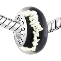 Sterling Silver Jewelry - BLACK WHITE SNOWFLAKE 925  STERLING SILVER MURANO GLASS BEADS CHARMS BRACELETS FIT ALL BRANDS alternate image 1.