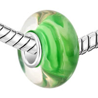 Sterling Silver Jewelry - 925  STERLING SILVER MILK WHITE STRIPES GREEN EMERALD FIT ALL BRANDS MURANO GLASS BEADS CHARMS BRACELETS alternate image 1.