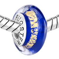Sterling Silver Jewelry - 925  STERLING SILVER METALLIC GOLD STRIPE SAPPHIRE BLUE FIT ALL BRANDS MURANO GLASS BEADS CHARMS BRACELETS alternate image 1.