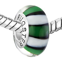 Sterling Silver Jewelry - WHITE GREEN AND BLACK ZEBRA 925 STERLING SILVER MURANO GLASS BEADS CHARMS BRACELETS alternate image 2.