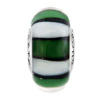 Sterling Silver Jewelry - WHITE GREEN AND BLACK ZEBRA 925 STERLING SILVER MURANO GLASS BEADS CHARMS BRACELETS alternate image 1.