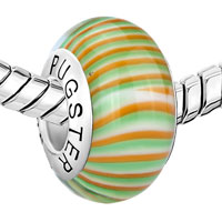 Sterling Silver Jewelry - ORANGE GREEN ZEBRA 925  STERLING SILVER MURANO GLASS BEADS CHARMS BRACELETS FIT ALL BRANDS alternate image 1.