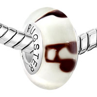 Sterling Silver Jewelry - 925  STERLING SILVER CLEAR WITH BROWN STRIP MILK WHITE FIT ALL BRANDS MURANO GLASS BEADS CHARMS BRACELETS alternate image 1.