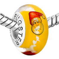 Sterling Silver Jewelry - 925  STERLING SILVER CHRISTMAS SANTA CLAUS LUCKY CLOUDS YELLOW FIT ALL BRANDS MURANO GLASS BEADS CHARMS BRACELETS alternate image 1.