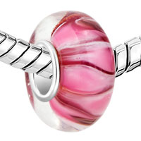 Charms Beads - BLAZING FIRE PINK FITS MURANO GLASS BEADS CHARMS BRACELETS FIT ALL BRANDS alternate image 1.