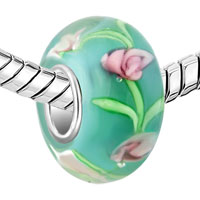 Charms Beads - PINK FLOWER IN AQUAMARINE BLUE FITS MURANO GLASS BEADS CHARMS BRACELETS FIT ALL BRANDS alternate image 1.