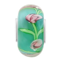 Charms Beads - PINK FLOWER IN AQUAMARINE BLUE FITS MURANO GLASS BEADS CHARMS BRACELETS FIT ALL BRANDS alternate image 2.