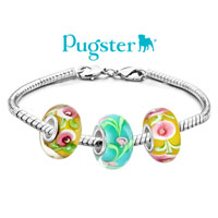 Charms Beads - PINK FLOWER IN AQUAMARINE BLUE FITS MURANO GLASS BEADS CHARMS BRACELETS FIT ALL BRANDS alternate image 3.