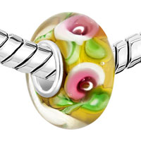 Sterling Silver Jewelry - PINK FLOWER YELLOW LAMPWORK SILVER MURANO GLASS BEADS CHARMS BRACELETS FIT ALL BRANDS alternate image 1.