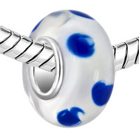 Charms Beads - TRANSPARENTLY CLEAR WHITE BLUE DOTS FITS MURANO GLASS BEADS CHARMS BRACELETS FIT ALL BRANDS alternate image 1.