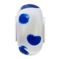 Charms Beads - TRANSPARENTLY CLEAR WHITE BLUE DOTS FITS MURANO GLASS BEADS CHARMS BRACELETS FIT ALL BRANDS alternate image 2.