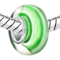 Charms Beads - EMERALD GREEN STRIPES FITS MURANO GLASS BEADS CHARMS BRACELETS FIT ALL BRANDS alternate image 1.