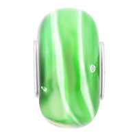 European Beads - EMERALD GREEN STRIPES FIT ALL BRANDS MURANO GLASS BEADS CHARMS BRACELETS alternate image 1.
