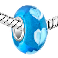 Charms Beads - SAPPHIRE BLUE LOVE HEART LOVER FITS MURANO GLASS BEADS CHARMS BRACELETS FIT ALL BRANDS alternate image 1.