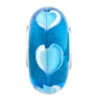 Charms Beads - SAPPHIRE BLUE LOVE HEART LOVER FITS MURANO GLASS BEADS CHARMS BRACELETS FIT ALL BRANDS alternate image 2.