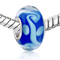 Charms Beads - MILK WHITE CHRISTMAS TREE OF LIFE SAPPHIRE BLUE COLOR MURANO GLASS BEADSS alternate image 1.