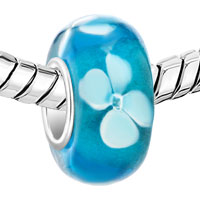 European Beads - FRESH BLUE WITH WHITE FLOWER MURANO GLASS BEADS CHARMS BRACELETS alternate image 1.