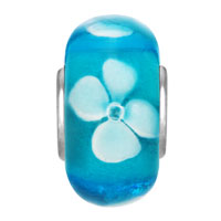 European Beads - FRESH BLUE WITH WHITE FLOWER MURANO GLASS BEADS CHARMS BRACELETS alternate image 2.