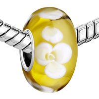 European Beads - FRESH YELLOW WITH WHITE FLOWER MURANO GLASS BEADS CHARMS BRACELETS alternate image 1.