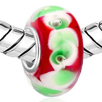 Charms Beads - GARNET RED GREEN PETAL FITS MURANO GLASS BEADS CHARMS BRACELETS FIT ALL BRANDS alternate image 1.