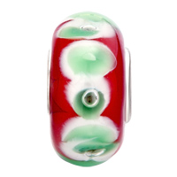 Charms Beads - GARNET RED GREEN PETAL FITS MURANO GLASS BEADS CHARMS BRACELETS FIT ALL BRANDS alternate image 2.
