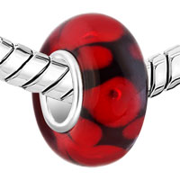 European Beads - PURE BLACK BALL GARNET RED DOTS ALL BRAND MURANO GLASS BEADS CHARMS BRACELETS alternate image 1.