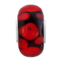 European Beads - PURE BLACK BALL GARNET RED DOTS ALL BRAND MURANO GLASS BEADS CHARMS BRACELETS alternate image 2.