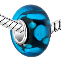 GB_YWQX14_X09: BLUE DOTS AGAINST BLACK FIT ALL BRANDS MURANO GLASS BEADS CHARMS BRACELETS alternate image 1.