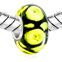 Charms Beads - CLASSIC BLACK CITRINE YELLOW LIFE FLOWER FIT ALL BRANDS MURANO GLASS BEADS CHARMS BRACELETS alternate image 1.