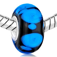 European Beads - PURE BLACK BALL SAPPHIRE BLUE DOTS ALL BRAND MURANO GLASS BEADS CHARMS BRACELETS alternate image 1.