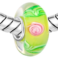 European Beads - YELLOW BALL PINK FLOWER GREEN LEAF ALL BRAND MURANO GLASS BEADS CHARMS BRACELETS alternate image 2.